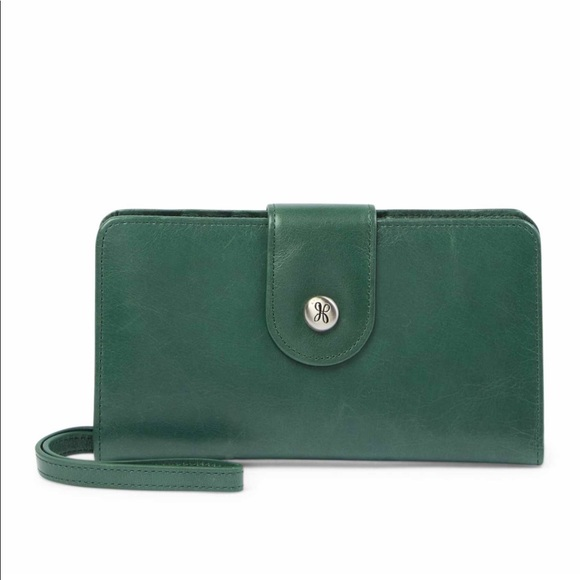 Hobo International Sadie Jasper Dark Green Leather Wallet Clutch New